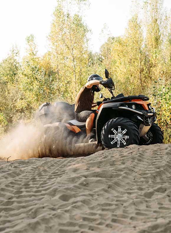ATV riding in sand