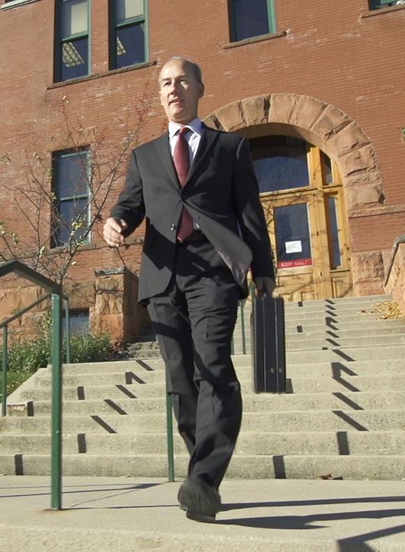 Mark Dancer on courthouse steps