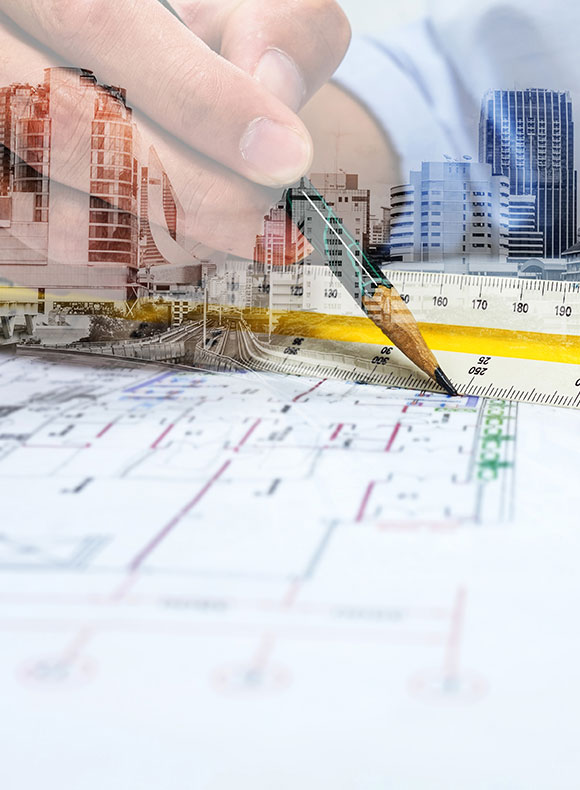 Man drawing building plans