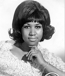 Black and white headshot of the Queen of Soul Aretha Franklin