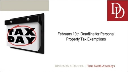 Calendar with Tax Day circled in red marker reminding clients of a Feb. 10 deadline for personal property tax exemptions.