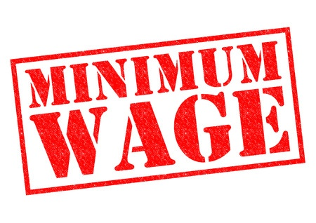 The term Minimum Wage styled as a red stamp in a rectangular box.