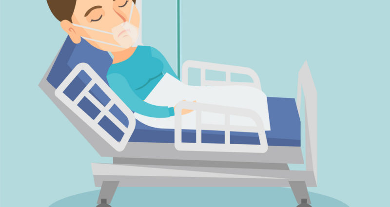 Illustration of a man lying down in a hospital bed wearing a respirator.